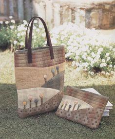 Set of shoulder tote Bag Handbag  purse with cosmetic by msirisook, $7.00