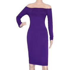 Maggie Tang Women's Off Shoulder Fitted Long Sleeve Casual Party Dress Purple XL