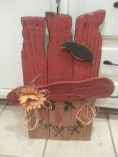 My cross eyed scarecrow upcycled, recyled, reloved rough fence picket pallet boards. Rustic primitive country whatever you want to call his style.