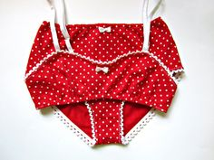 Vintage inspired polka dot red lingerie set by CottonCloudStore