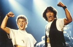 Keanu Reeves and Alex Winter take the stage in a new image from Bill & Ted Face the Music. Ted Film, Cannes, Keanu Reeves Movies, American Words, American English, Alex Winter, The Blues Brothers, Face The Music, Cinema