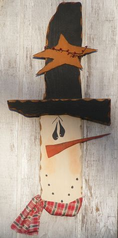 Large Primitive Wooden Snowman Doorhanger by theprimplace on Etsy, $28.00