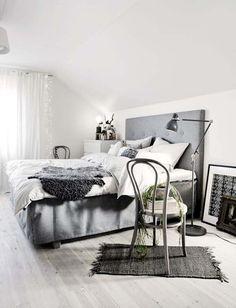 50 Amazing Scandinavian Bedroom Design Ideas - grey headboard