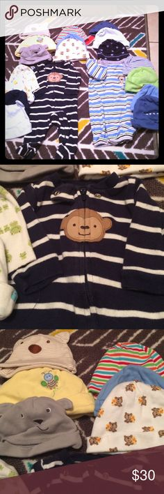 Baby boy bundle Bundle of 17 baby hats and two baby boy outfits. Hats size 0-6 outfits size new born Accessories Hats