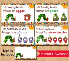 Very Hungry Caterpillar Food Tent Cards Labels - INSTANT DOWNLOAD Printable for Party Buffet or Table Matches Birthday Invitation