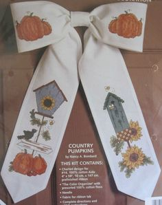 "Country Pumpkins Bow Ties Cross Stitch Kit Door Decoration 11"" x 17"" New Sealed #JCA #CrossStitch"