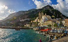 Hämta bilder Amalfi, berg, havet, sommar, Salerno-bukten, Italien, Salerno