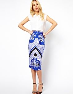 Image 1 of ASOS Wiggle Skirt in Baroque Print