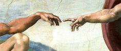 """Detalle del fresco """"Dios creando a Adán"""" realizado por Miguel Ángel en un tramo de la gran bóveda que cubre la capilla Sixtina entre 1508 y 1512.  Mediante el acercamiento de las dos manos se representa el tema de la creación de la vida humana. Miguel Ángel plasma la idea de la """"transmisión"""" de vida a través del dedo índice de Dios por contacto con el de Ádan. Intenso y lleno de fuerza emotiva es este instante que se representa en el fresco, el momento en el que Dios esta apuntó de realizar…"""