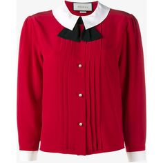 Gucci Gucci Peter Pan Collar Blouse (4.800 RON) ❤ liked on Polyvore featuring tops, blouses, shirts, gucci, red, shirt blouse, silk shirt, red top and silk blouse