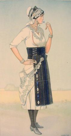 NICOLAS SPERLING Bride's Dress (Macedonia, Roumlouki) 1930 ilithograph on paper after original watercolour Greek Traditional Dress, Traditional Outfits, Dance Costumes, Greek Costumes, Greek Dress, Greek Culture, Folk Dance, Costume Collection, Greek Clothing