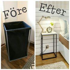 Före och efter - tvättsäck blev sängbord