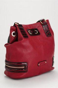 $75.50 - Melie Bianco Karina Drawstring Croco Trimmed Bag