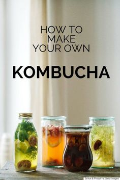 """What is kombucha and why do we need it? Kombucha (often referred to as """"booch"""") is a live cultured, naturally sparkling drink made through a fermentation process involving tea, wild bacteria and yeasts, and raw sugar. Kombucha Flavors, Kombucha Recipe, Probiotic Drinks, Kombucha Tea, Kombucha Brewing, Make Your Own Kombucha, Healthy Drinks, Healthy Recipes, Healthy Eating"""