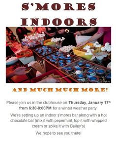 Great winter activity for resident. S'more indoors... and maybe some hot chocolate set up!