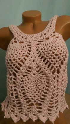 Pink crocheted summer top in soft pink cotton blend size M/L handmade by me. Pretty tank top ready to ship Crochet Crop Top, Double Crochet, V Stitch, Summer Tops, Crochet Clothes, Crochet Projects, My Etsy Shop, Crochet Patterns, Tank Tops