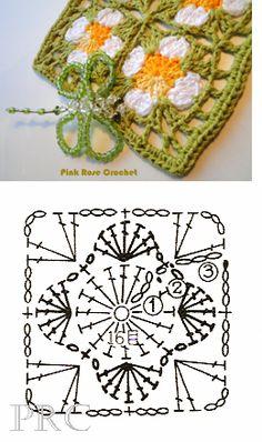 Flower square granny crochet chart