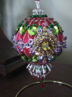 Sequin and bead satin ball ornament.  This was inspired by the old Shine Brite ornaments of the 50's and 60's.