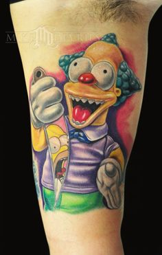 Wonderful full colors cartoon tattoo style of Krusty the Clown motive from The Simpsons series done by tattoo artist Mike Devries Simpsons Tattoo, Simpsons Art, Futurama Tattoo, Movie Tattoos, Cartoon Tattoos, Horror Tattoos, Badass Tattoos, Cool Tattoos, Amazing Tattoos