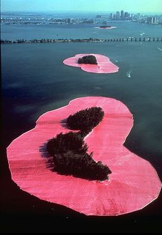 """Sourrounded islands"" by Christo. Christo is a well known land artist. this is one of his best known works. he is known for his use of fabrics and covering monumnets."