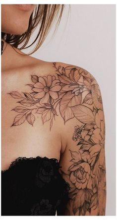 #cool #tattoo #ideas #for #men #sleeve #cooltattooideasformensleeve Shoulder Sleeve Tattoos, Quarter Sleeve Tattoos, Shoulder Tattoos For Women, Arm Tattoos For Women, Female Tattoo Sleeve, Back Of Shoulder Tattoo, Flower Tattoos On Shoulder, Flower Tattoo Arm, Man Sleeve Tattoo Ideas