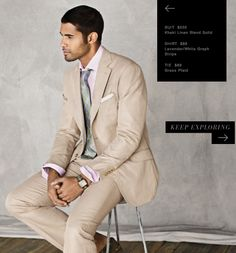 Beautiful khaki suit by J. Hilburn with a lavender/white graph stripe custom shirt and a grass plaid tie.