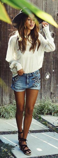 #summer #outfits Black Hat + White Blouse + Floral Denim Short + Black Sandals