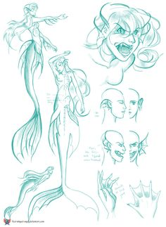 Mermaid Anatomy by red-winged-angel on deviantART. I love the calm and agitated comparison. The larger hip fins look really graceful, too.