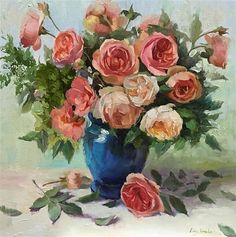 """Daily Paintworks - """"Austin Roses - 3"""" - Original Fine Art for Sale - © Ling Strube"""