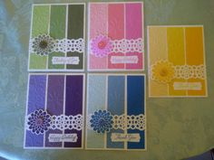 Card Set by Trudy W..... could use up a bunch of leftover scrap strips for sets like this!