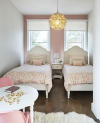 This girly kids bedroom is so precious! Cottage/Country Nursery & Kids Bedroom Design Photo by M Monroe Design #kidsbedroom #girlbedroom #pinkbedroom #affiliate #beautifulbedroom