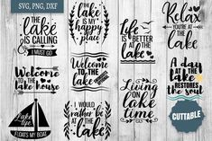 Lake SVG bundle, Lake home cut file bundle, Lake quote SVGs Summer Captions, Lake Life Quotes, Boating Quotes, Haus Am See, Lake Decor, Lake Signs, Summer Quotes, Silhouette Design, Silhouette Studio