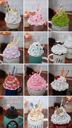 Cream Mugs, Diy Gifts To Sell, Oven Bake Clay, Fake Cake, Fake Cupcakes, Candy Decorations, Christmas Decorations, Weekend Crafts, Baking Clay