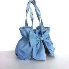 jean purse Recycled denim bow bag  light blue denim by Sisoibags