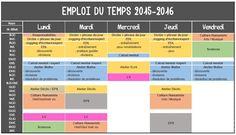 Emploi du temps 2015-2016 - La classe de Mallory Cycle 3, Teaching French, Image Search, Periodic Table, The Unit, Writing, Maths, Montessori, Peda