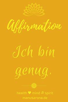 vollständig positive Affirmation selbstwert selbstliebe orange chakra chakren yoga meditation selfcare selflove intuition mantra kraftvoll, ja zum Leben, konditionierung traumaheilung trauma, du bist, traumahealing codependency conditioning negative mind, innerer kritiker, NLP dankbarkeit glück glücklich glücklichsein dankbarkeitsjournal genügsamkeit achtsamkeit bewusstsein positivität einfachheit zen buddhismus prayer yogazitat jetzt lifestyle yogalifestyle lebensstil spiritualität… Think Positive Thoughts, Yoga Meditation, Intuition, Mantra, Law Of Attraction, Trauma, Affirmations, Mindfulness, Positivity