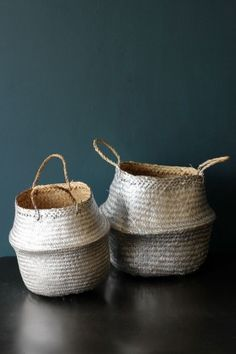 Large Set Of 2 Straw Baskets - Silver