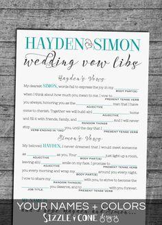 Funny Wedding Vows Mad Lib - Printable Bridal Shower Game [#222 ...