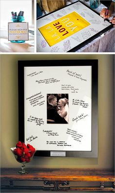 Photo Frame Guest Book Alternative:  Celebrate your wedding day along with loving words of your friends flanked by your chosen wedding photo. Use an acid free fine point pen to protect your guest's messages for many years.
