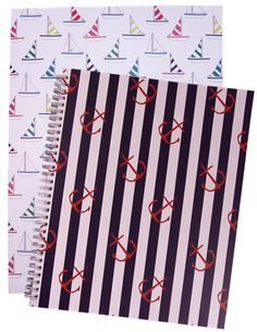 Online : Office Candy: spiral notebook and coordinating pocket folder. Cute Office Supplies, School Supplies, Organized Mom, Getting Organized, Nautical Office, Office Candy, College Organization, Back To School Gifts, Desk Set