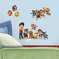 Decorate your preschoolers bedroom with their favorite heroic puppies using RoomMates' Paw Patrol peel and stick wall decals. These wall decals are 100% removable and easy to apply. These high quality...