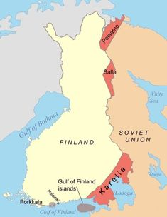 Territories ceded by Finland to the Soviet Union after the Continuation War.