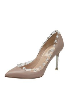 2013 SPRING TRENDS : APPARENTLY TRANSPARENT: Rockstud Naked Pump, Poudre by Valentino at Bergdorf Goodman.