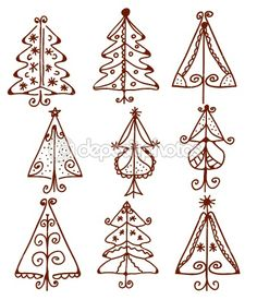 Christmas trees funny doodle by Tasia12 - Stock Vector