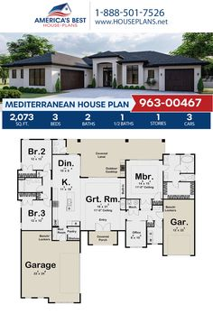 Plan 963-00467 features a beautiful Mediterranean home design offering 2,073 sq. ft., 3 bedrooms, 2.5 bathrooms, split bedrooms, a kitchen island, an open floor plan, a lanai, a home office, a mudroom. #mediterraneanstyle #architecture #houseplans #housedesign #homedesign #homedesigns #architecturalplans #newconstruction #floorplans #dreamhome #dreamhouseplans #abhouseplans #besthouseplans #newhome #newhouse #homesweethome #buildingahome #buildahome #residentialplans #residentialhome Best House Plans, Dream House Plans, Dream Houses, Mediterranean House Plans, Mediterranean Style, 3 Bedroom Floor Plan, Floor Plan Drawing, Stucco Exterior, Cost To Build