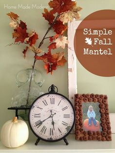 Simple Fall Mantel - acorn tops glued to frame Fall Fireplace, Autumn Crafts, Diy Party, Party Ideas, Fall Diy, Cool Diy Projects, Autumn Inspiration, Deco Mesh, Holiday Parties