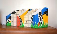 Vintage Set of 5 Ikea Magazine Files. 80s Office Desk Organizer. Paper Storing Boxes. Sweden Design. Danish Home Decor. Zebra Pattern by catbedoven on Etsy