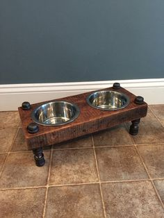 Reclaimed Barn Wood Dog Bowl Feeder by on Etsy Wood Projects, Woodworking Projects, Raised Dog Feeder, Dog Bowl Stand, Wood Dog, Pipe Furniture, Reclaimed Barn Wood, Large Dogs, Dog Bed