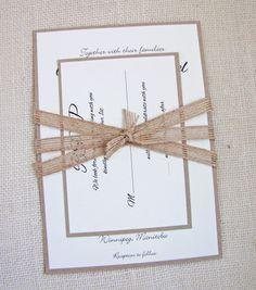 Wedding Invitation, Burlap Ribbon,Shabby Chic,Rustic Wedding Invitation
