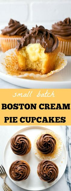Boston Cream Pie Cupcakes: small batch cupcake recipe makes just 4 filled cupcakes. Pastry cream filled cupcakes with chocolate ganache frosting.